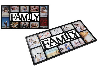 Stylish Photo Frame Family Multi Holds 10 Pictures Hanging Memories Black New