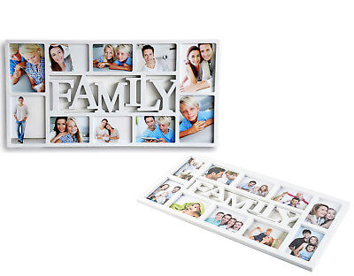 White Family Portrait Frame Photo Multi Holds Pictures Memories Hanging 10 Image
