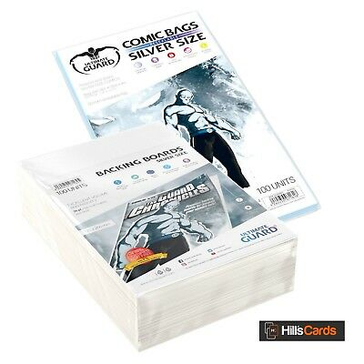 Ultimate Guard 100 Silver Age Size Resealable Comic Book Bags + Boards - Storage