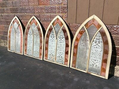 4 Same Antique Gothic Wood Framed Etched / Stain Glass Church Windows - Good