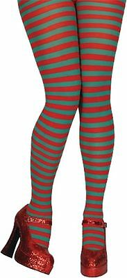 Red and Green Stripe Elf Christmas Fancy Dress Tights Ladies Costume  Accessory. d55e83f9add