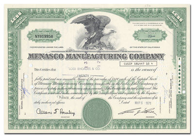 Menasco Manufacturing Company Stock Certificate (Aircraft Engines, Landing Gear)