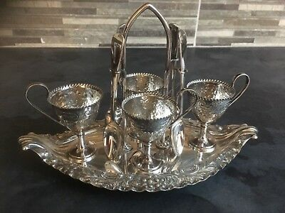 Vintage Silver Plated 4 Egg Cup Set And Stand.Walker and Hall