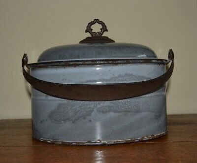 Vintage Primitive Unusual Gray Graniteware Oval Lunch Pail-Signed Agate Ware