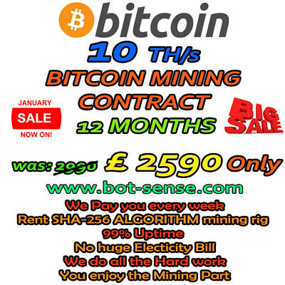 10 TH/s BITCOIN MINING CONTRACT 12 MONTHS - RUN MINING RIG TODAY! *LIMITED*