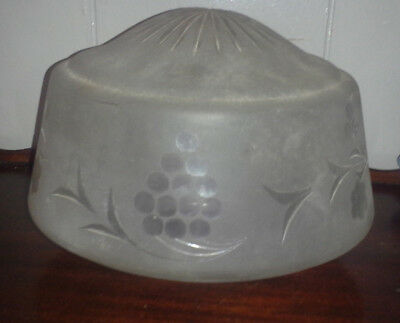 Antique Frosted and Cut glass Art Deco Nouveau ceiling light fixture shade