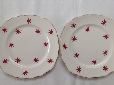 Vintage Royal Vale Tea/side Plates bone china  Raspberry/red Stars x2