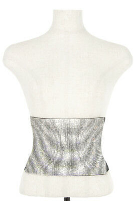 New Women Fashion Party Crystal Gem Pave Elastic Stretch Waist Wide Corset Belt