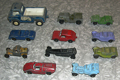 Lot of 11 Vintage Tootsietoy Toy Cars Small Metal 1940'S 1950'S 1960'S 1970'S
