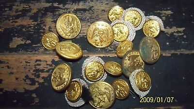 Lot of 18 Old Vintage Military Buttons Brass Gold Color Antique Eagle Anchor