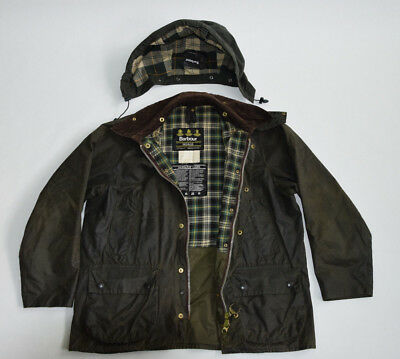 Men's Barbour Bedale Waxed Cotton field utility Jacket Olive coat  c40 102cm