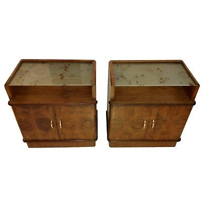 TERRIFIC  Mid Century  Pair of Italian Walnut Bedsides Nightstands Side Tables