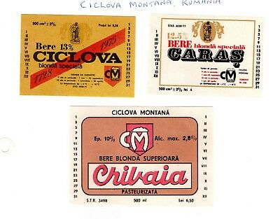 Ciclova Montana Brewery, Romania - 3 old beer labels - see scan