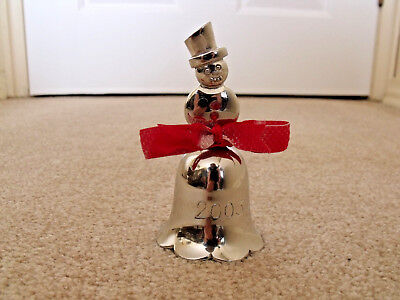 2003 Snowman Dinner Supper Bell Silver Plate Figurine Statue Home Office Bar Pub