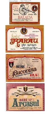 Bere Suceava, Romania - 5 old beer bottle labels - see 2 scans