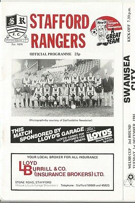 STAFFORD RANGERS v SWANSEA CITY  1981/82  WELSH CUP