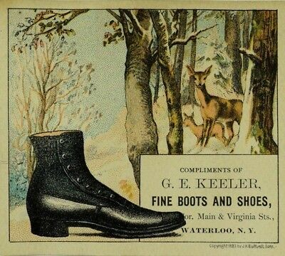 1883 G. E Keeler Fine Boots & Shoes Forest Deer Big Black Boot P82