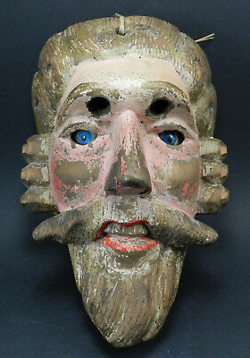 Vintage / Antique Carved Wooden Folk Art Mask for Purim