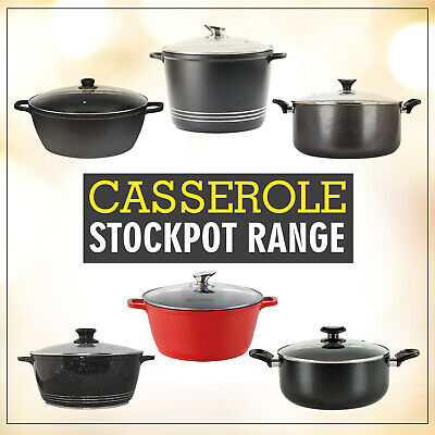 Induction Cookware Die Cast Non Stick Deep Stew Stock Pot Casserole Glass Lid Sh