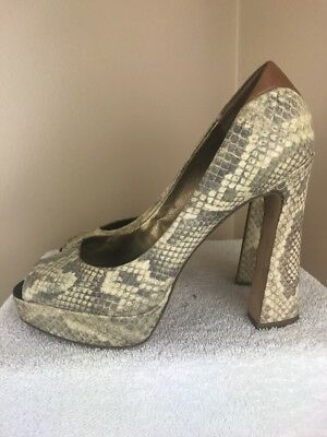016ae756d496f6 Sam Edelman Women s 9 M Peep Toe Platform Embossed Snakeskin Suede Tacoma 1  of 6Only ...