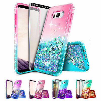 Samsung Galaxy S8 Plus / S8 Case | Liquid Glitter Bling Cover + Screen Protector