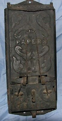 Vintage Cast Iron WALL MAILBOX LETTERS  Clamp for Papers LETTERS LOCKABLE 1909
