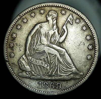 1869 S With Motto Seated Liberty Half Dollar - XF Details !!