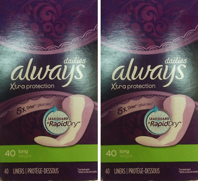 2 PACK Always Xtra Protection Long Daily Liners 40 ea, Packaging May Vary