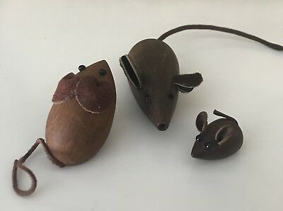 Three Vintage Mid Century Danish Teak Mice Mouse with Leather Ears and Tails