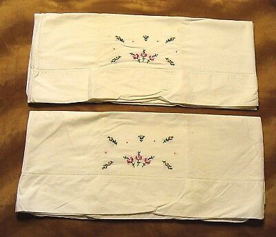 Pair Vintage Embroidered Petit Point Flowers Cotton Bed Pillow Cases