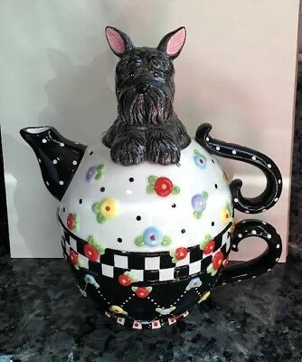 Mary Engelbreit TEA FOR ONE TEAPOT - 3 Piece SCOTTIE DOG Michel 2002 Oh Henry