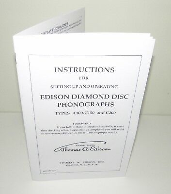 Edison Diamond Disc  Phonograph A100 C150 C200 Instruction Manual Reproduction