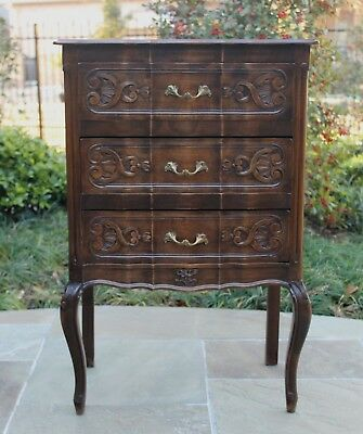 Antique French Country Mahogany 3-Drawer Serpentine Chest End Table Nightstand