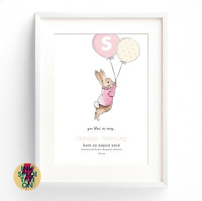 Peter Rabbit Personalised Balloon Print Christening New Baby Beatrix Potter