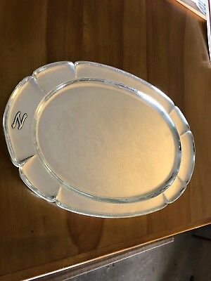 Kalo Shop Sterling Silver Hand Wrought Oval Platter Serving Tray