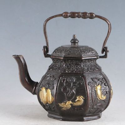 Chinese Gilt Copper Teapot  Made During The Daqing Qianlong Period HLJ0060