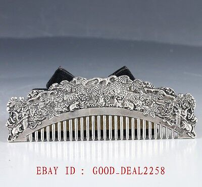 Chinese Silver Hand Painted Rabbit & Tree Comb LZJ263