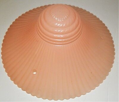 3 Chain Glass Ceiling Light Shade Art Deco Ribbed Frosted Pink Salmon Vintage