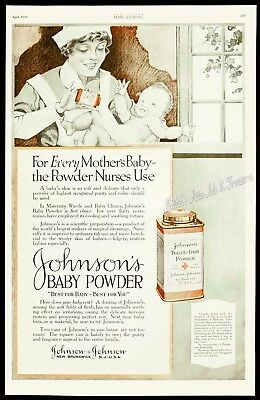 1920 JOHNSON'S BABY POWDER Nurse w/Baby Vintage Advertising Tin BIG PRINT AD