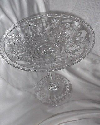 "Antique EAPC Etched Clear Glass Pedestal Bon Bon/Candy Dish 7 1/2"" Mint Conditio"