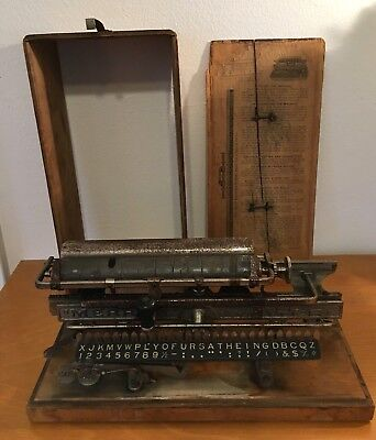 Rare Antique Merritt Linear Index Typewriter with Case Serial #5817 Buy It Now
