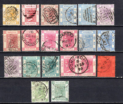 Hong Kong China 1877-1882 Qv Selection Of Used Stamps Pmk Interest