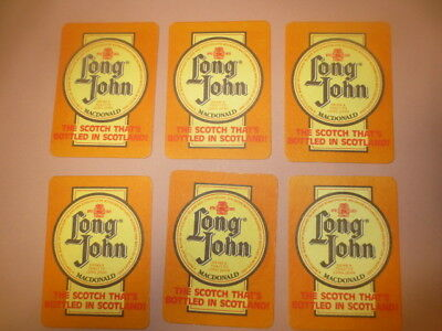 6 x LONG JOHN Scotch Whisky 1970,s Issue Spirits collectable COASTERS