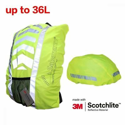 Salzmann 3M Scotchlite Reflective Backpack Cover,Waterproof,up to 36L, Green