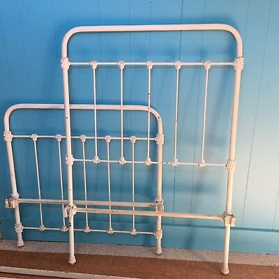 Antique Twin Size Iron Bed Frame With Headboard And Footboard