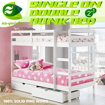 BUNK BED TWIN BOTTOM DRAWERS KIDS CHILDREN's ROOM FURNITURE WITH STORAGE BOX