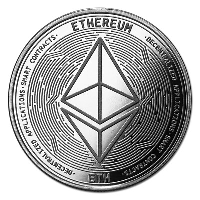 Bitcoin Cryptocurrency Ethereum (ETH) - In Code We Trust 1 oz Silver BU Round