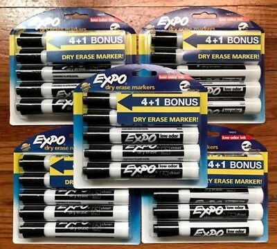 NEW EXPO Low Odor Dry Erase Markers Chisel Tip Black 25-Count (5 Packs of 5)