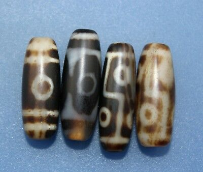 25*8 mm Antique Dzi Agate old 3 eyes  Bead from Tibet **Free shipping**
