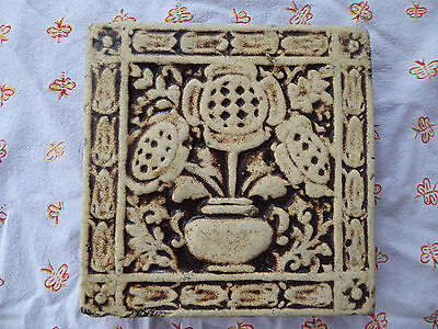 California Art Tile Richmond, California Floral Relief Fireplace Tile as found
